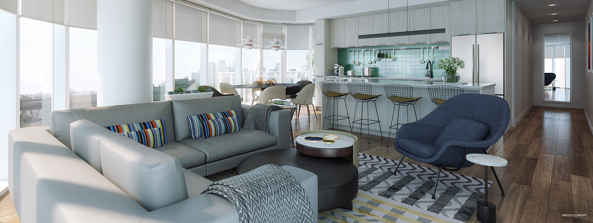 Artists concept of living room and kitchen space in Theodore condo